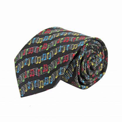 Black Music Notes Wave Pattern Men's Tie 1057-0