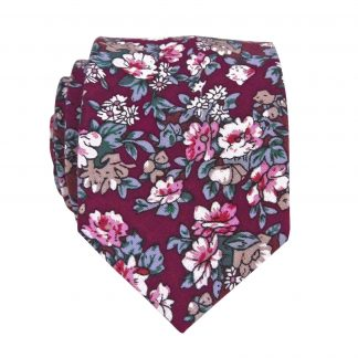 Burgundy, Khaki Floral Skinny Men's Tie 3746-0
