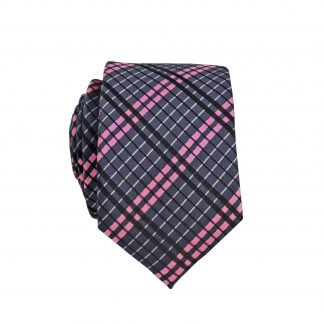 Charcoal, Pink Criss Cross Skinny Men's Tie 2748-0