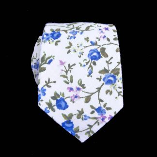 Cream, Blue, Green Floral Skinny Men's Tie 9207-0