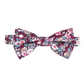 Burgundy, Khaki Floral Banded Bow Tie 3687-0