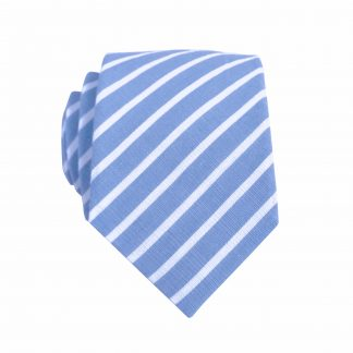 French Blue, White Stripe Skinny Men's Tie 3931-0