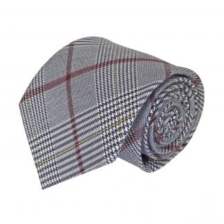 Gray, Burgundy Plaid Men's Tie 6340-0
