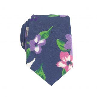 Navy, Pink, Green Floral Skinny Men's Tie 6333-0