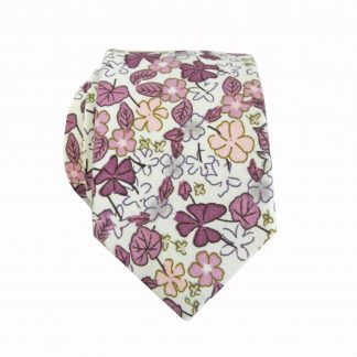 Creme, Purple, Mauve Floral Cotton Skinny Men's Tie 8264-0