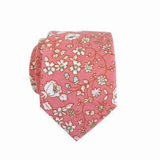 Pink, White Floral Skinny Cotton Men's Tie 8266-0