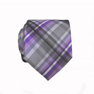Purple, Gray Plaid Skinny Men's Tie w/Pocket Square 2195-0