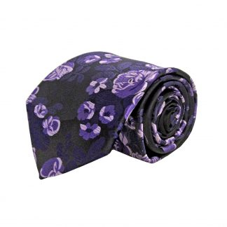 Purple, Black Small Floral Men's Tie w/Pocket Square 7985-0
