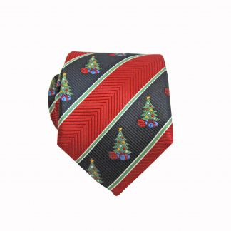 "49"" Boy's Self Tie Red, Black Christmas Tree Stripe Tie 9485-0"