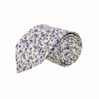 "63"" XL Creme, Purple Floral Cotton Men's Tie 10765-0"