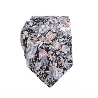 Black, Gray, Mauve, Peach Skinny Cotton Men's Tie 3965-0