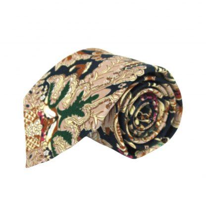 Navy, Khaki Large Floral Cotton Men's Tie 6508-0