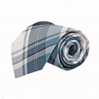 Blue, Navy, White Plaid Cotton Men's Tie 5644-0