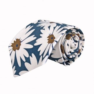 Blue, White Daisy Cotton Men's Tie 10205-0