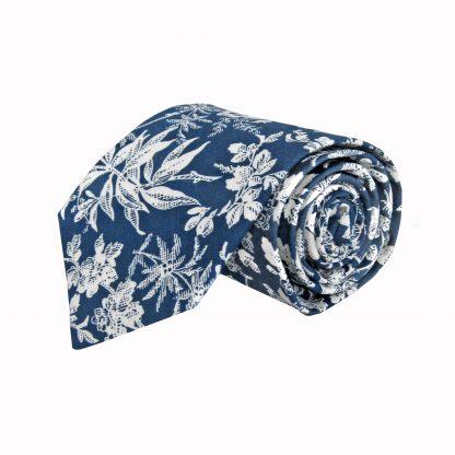 Blue, White Floral Cotton Men's Tie 3563-0