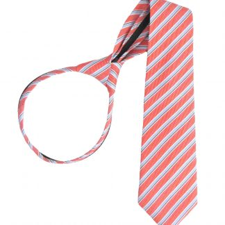"17"" Boy's Salmon, Light Blue Stripe Zipper Tie 4652-0"