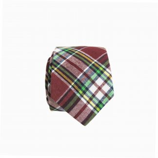 Burgundy, Green Plaid Skinny Cotton Men's Tie 4619-0