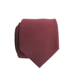 Burgundy Solid Skinny Cotton Men's Tie 11316-0