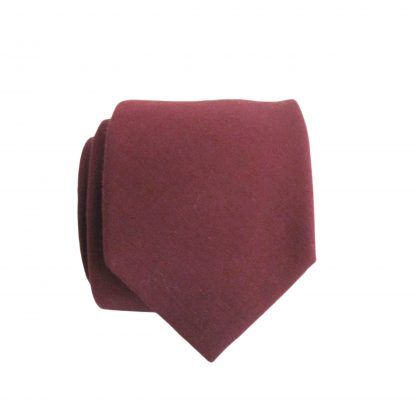 Burgundy Solid Skinny Cotton Men's Tie 11316-0