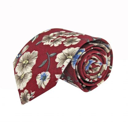 Burgundy, Creme Floral Cotton Men's Tie 11240-0