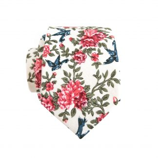 Creme, Pink, Green Floral with Blue Birds Cotton Skinny Men's Tie 3564-0