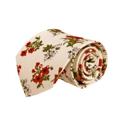 Creme, Red, Green Floral Cotton Men's 8388-0