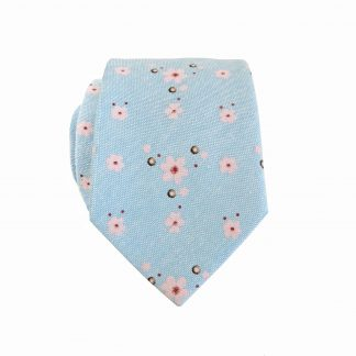 French Blue, Pink Floral Skinny Cotton Men's Tie 8988-0