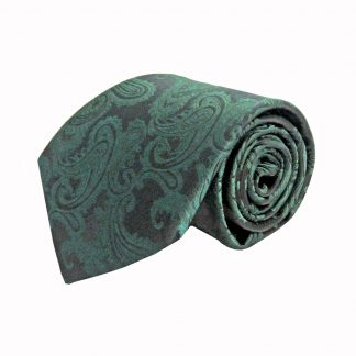 Hunter Green, Black Paisley Men's Tie w/Pocket Square 9957-0