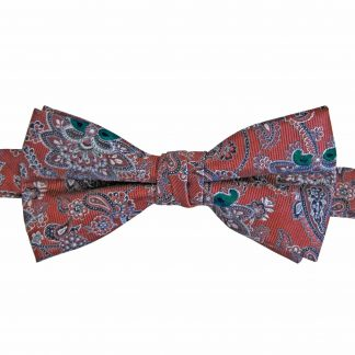 Medium Red, Gray, Emerald Green Floral Paisley Banded Bow Tie 9797-0