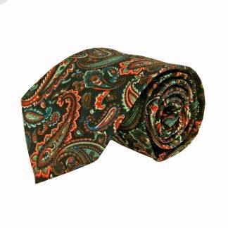 Navy, Green, Red Paisley Cotton Men's Tie 3561-0
