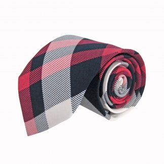 Navy, Red, White Plaid Cotton Men's Tie 8387-0