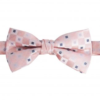 Nude Pink, Silver Square Dot Banded Bow Tie 6453-0