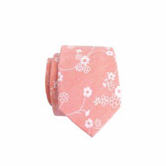 Peach, White Floral Vine Skinny Cotton Men's Tie 5282-0