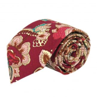 Red, Khaki Floral Cotton Men's Tie 10054-0
