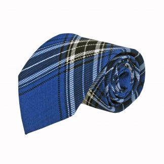Royal Blue, White Plaid Cotton Men's Tie 7121-0