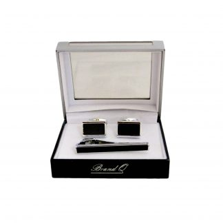 Silver, Black Square Tie bar Cuff link Set 10025-0