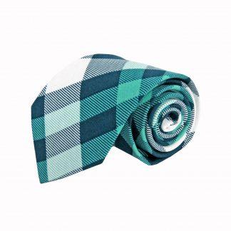 Turquoise, Navy, White Plaid Cotton Men's Tie 3558-0