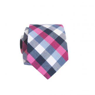 White Pink Gray Plaid Skinny Cotton Men's Tie 3593-0