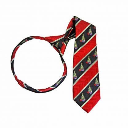 "14"" Boy's Zipper Red, Black Christmas Tie 7166-0"