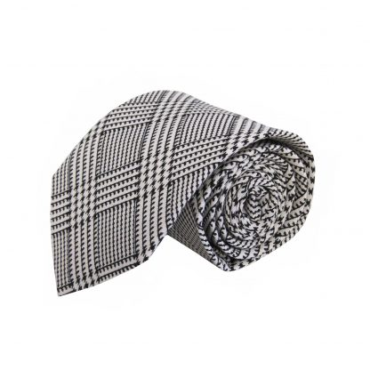 Black, White Plaid Cotton Men's Tie 3715-0