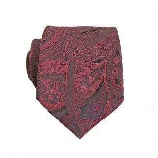 Burgundy, Black Floral Paisley Skinny Men's Tie 3977-0