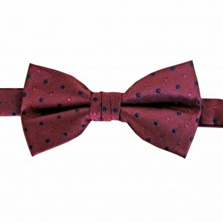Burgundy, Navy Dot Banded Bow Tie 8834-0