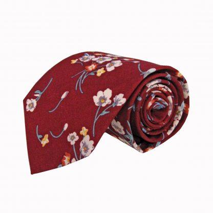 Burgundy, White, Blue Floral Cotton Men's Tie 1245-0
