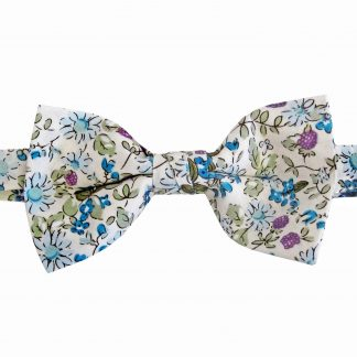 Creme, Blue, Lavender Cotton Banded Bow Tie 10779-0