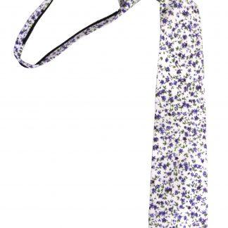 "17"" Boy's Cream, Purple Floral Cotton Zipper Tie 4169-0"