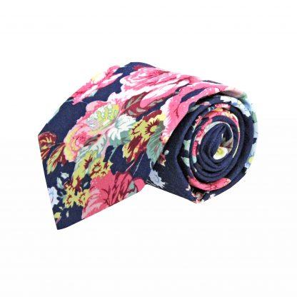 Navy, Yellow Floral Cotton Men's Tie 9604-0