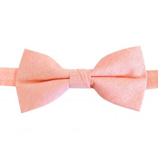 Peach Solid Cotton Banded Bow Tie 10764-0