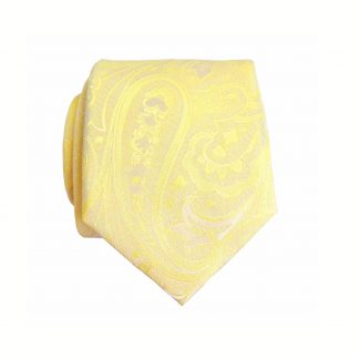 Bright Yellow Floral Paisley Tone On Tone Skinny Men's Tie w/Pocket Square 1399-0
