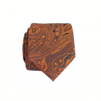 Bronze, Dark Navy Floral Paisley Skinny Men's Tie w/Pocket Square 6352-0
