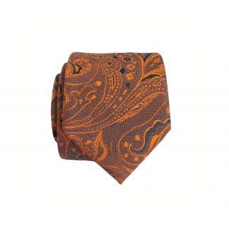 Bronze, Dark Navy Floral Paisley Skinny Men's Tie w/Pocket Square 6352-0